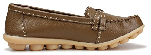 Shoes On Loafer Kunsto Slip Leather Women's Khaki twAxqP7S