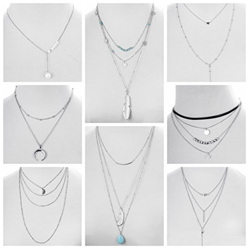 FIBO STEEL 3-8Pcs Layered Y Necklace for Women Girls Long Gothic Sexy Pendant Necklace Set ()