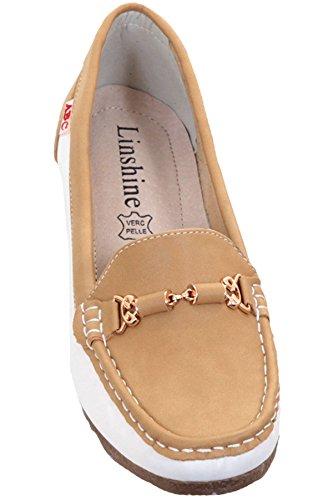 Sapphire Boutique by Sapphire Saphir Boutique Damen Kleiner Keil Goldkette Farbkontrast Mokassins Slipper Slipper Kamel / weiß