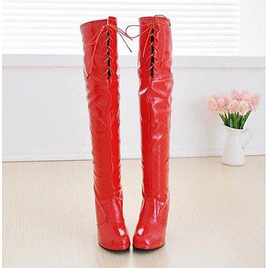 Xuezi Donna 3 3 Pu 3in Da Bianco Casuale Bianco 4in Comfort Primavera Gll Stivali E Rubino Nero wpCqWxnt1I