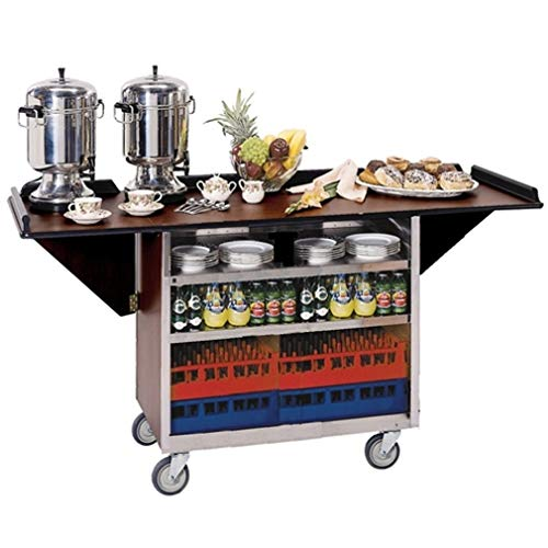 Beverage Service Cart - Lakeside # 675, Drop-Leaf Beverage Service Cart, Stainless Steel with Walnut Vinyl Finish, Top Measures 22-1/2