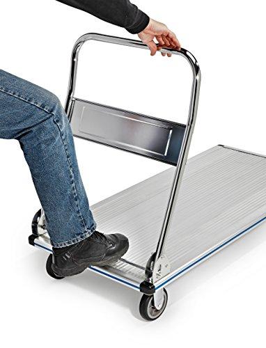 AdirOffice Folding Aluminum Platform Truck - Flatbed Cart - Single Handle - 5'' Non-Marking Polyurethane Casters - 600 lbs Capacity - 48'' x 24'' by AdirOffice (Image #3)