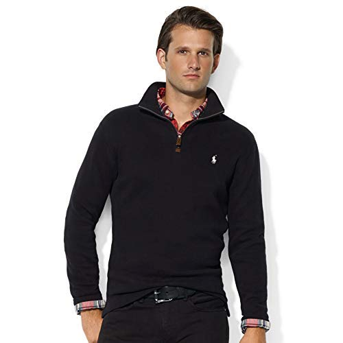 Polo Ralph Lauren Mens Half Zip French Rib Cotton Sweater (Medium, Black/White Pony)