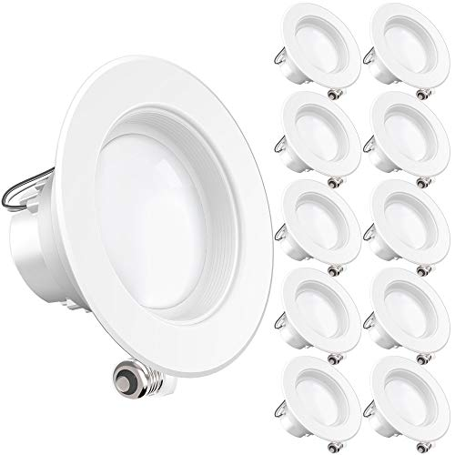 Sunco Lighting 10 Pack 4 Inch LED Recessed Downlight, Baffle Trim, Dimmable, 11W=40W, 3000K Warm White, 660 LM, Damp Rated, Simple Retrofit Installation - UL + Energy - 4 Trim Open