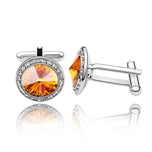 """Topro Swarovski Elements """"Venice Love""""Special Style Crystal Cuff Link Color Yellow"""