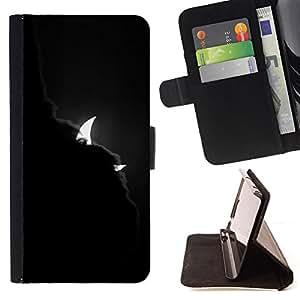 Ihec-Tech / Negro Flip PU Cuero Cover Case para HTC One M8 - Diablo Nubes Media Luna menguante Noche