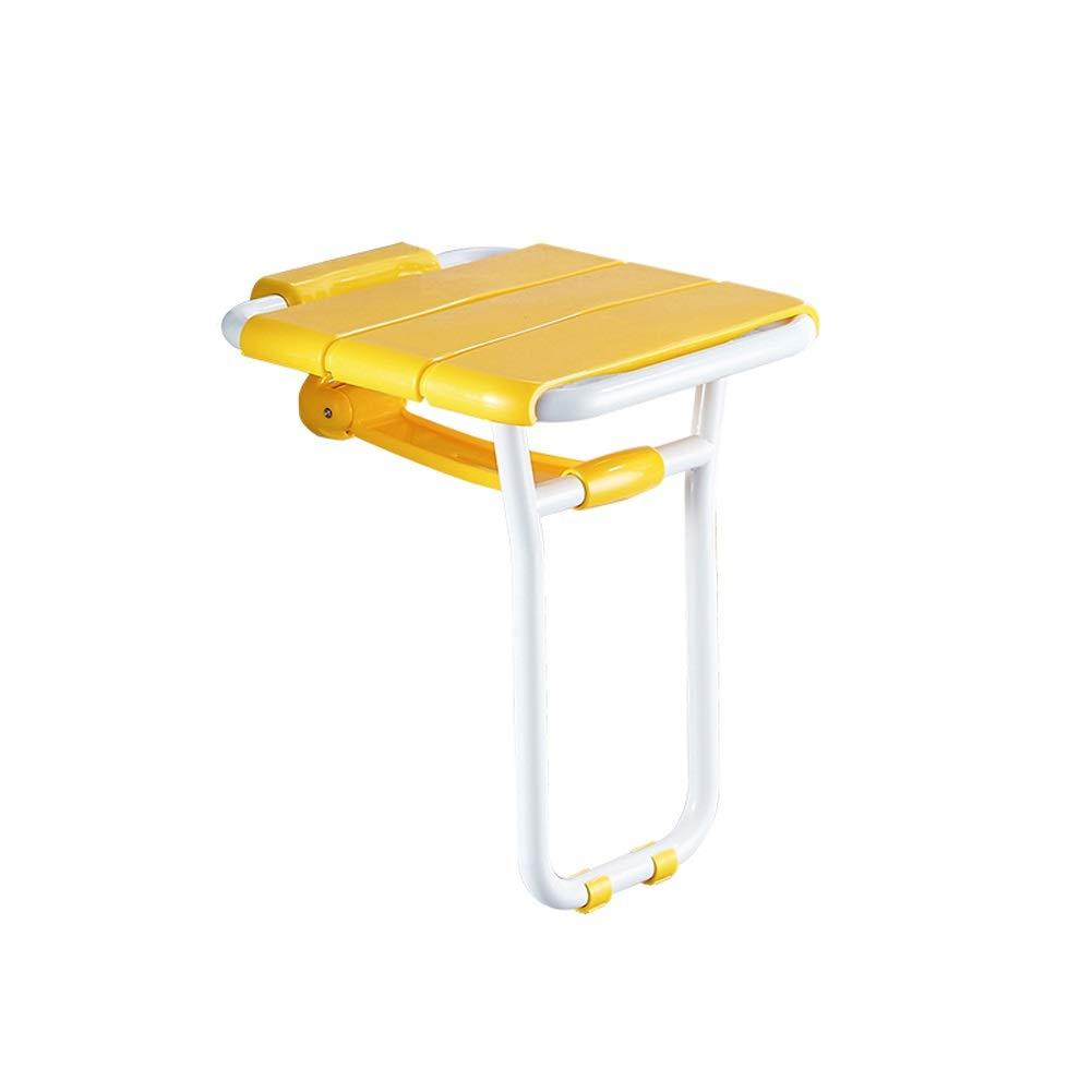 BEAUTY--shower stool, Elderly Bathing Auxiliary Seat Non-Slip Folding Chairs Wall Mounting, Can Withstand 150KG (Color : Yellow)