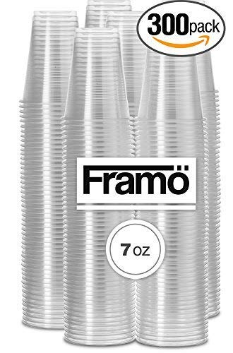 7Oz Clear Plastic Cups by Framo, For Any Occasion, BPA-Free Disposable Transparent Ice Tea, Juice, Soda, and Coffee Glasses for Party, Picnic, BBQ, Travel, and Events, (300, clear) -