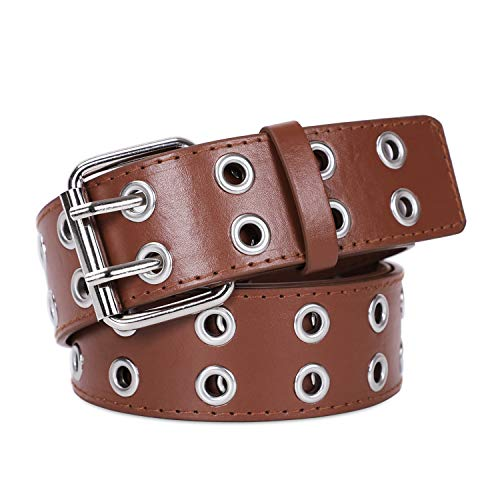 Fashion Double Grommet Fake Leather Belt with 2 Prong Buckle Rock Motorcycle Waist Belt