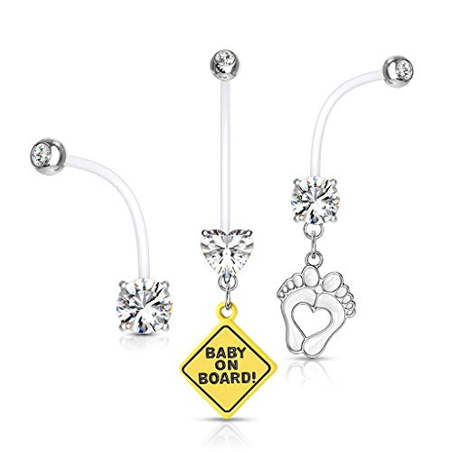 Pierced Owl Set of 3 Double Jeweled Pregnancy Maternity Belly Button Ring Retainers (Clear)