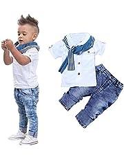 Ritatte 3Pcs Kids Clothing Boys Casual Short Sleeved Shirt + Denim Jeans Toddler Boy Summer Outfit Set