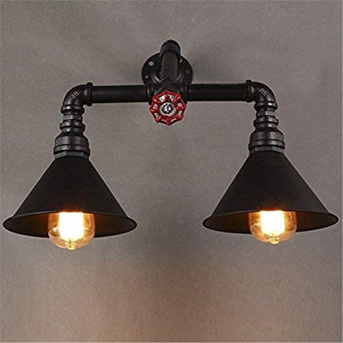 RUNNUP Industrial Mottled Rusty Iron 2 Lights Pipe Wall Sconce Antique Wall Light