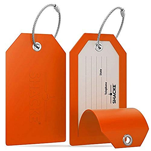 Security Covered Luggage Tag - Shacke Luggage Tags with Full Back Privacy Cover w/Steel Loops - Set of 2 (Orange)