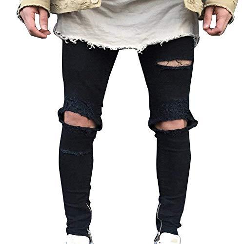 Uomo Slim Lanceyy Casual Nero Da Denim Jeans Decorazione Strappato Pantaloni Chiusura Semplice Stile Distrutti Buco Hn4qn1px