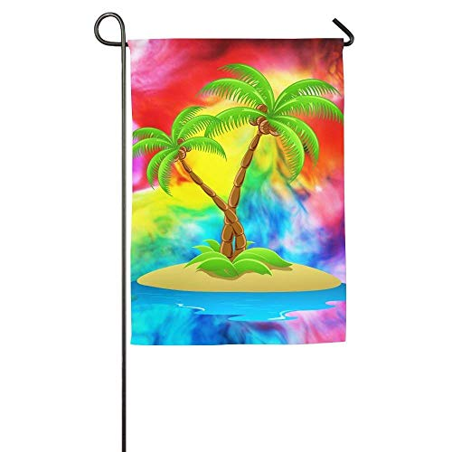 HUVATT Island with Palm Trees Garden Flag Indoor & Outdoor Decorative Flags for Parade Sports Game Family Party Wall Banner 28 x 40 -