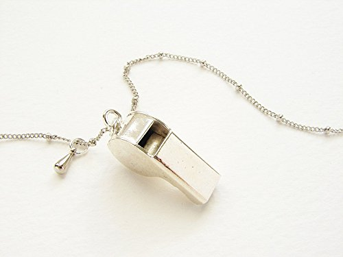 Police Whistle pendant necklace, silver whistle necklace, miniature working silver police whistle necklace (Miniature Whistles)