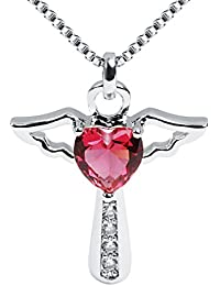 Necklaces for Women Girls Cross Cubic Zirconia Angel Wing Birthstone Heart Charm Pendant Necklace