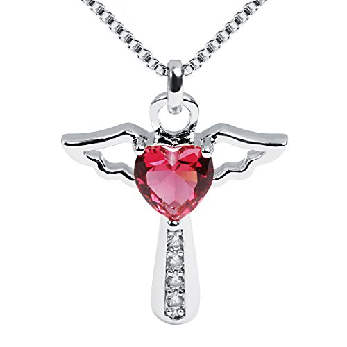 (Ckysee Necklaces for Women Girls Cross Cubic Zirconia Angel Wing Birthstone Heart Charm Pendant Necklace July-Ruby)