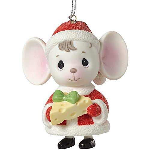 """Precious Moments, The Holidays are Mice with You"""", Mouse with Cheese, Porcelain Bell Ornament, -"""