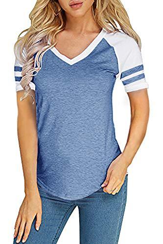 Foshow Womens Short Sleeve Raglan Baseball Tee Jersey Striped V Neck Blouses Tshirts (Medium, A Blue)