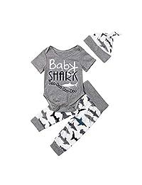 Newborn Toddler Boys Baby Shark Romper Long Pants Hat 3Pcs Set Clothes Summer Bodysuit Playsuit