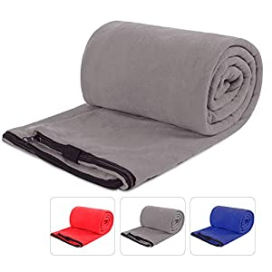 REDCAMP Fleece Sleeping Bag Liner for Adult Warm Weather, Full Sized Zipper Backpacking Blanket for Outdoor Camping or Indoor Used with Sack Grey