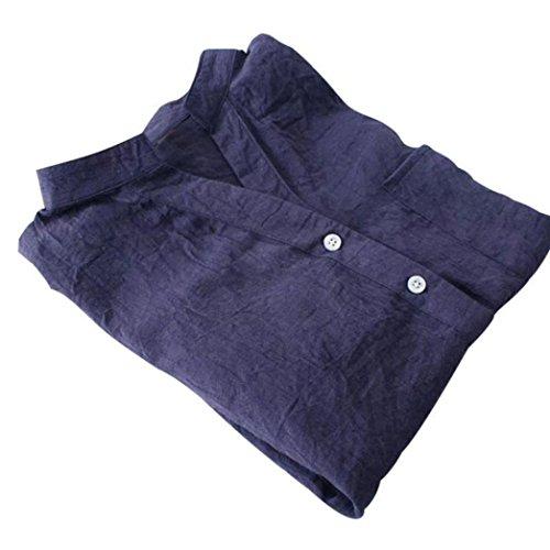 Coton Manches Vovotrade Longues Longues Chemise Manches Bleu en R66Iw