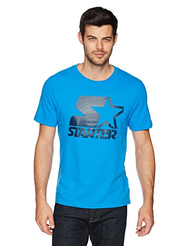 Starter Men's Short Sleeve Logo T-Shirt, Prime Exclusive, Champion Blue with Team Navy, (Champions Navy Short Sleeve T-shirt)