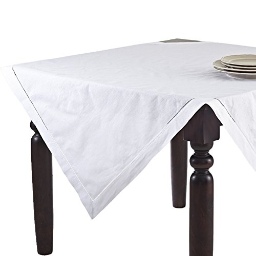 Fennco Styles Handmade Basic Hemstitch Linen-Cotton Tablecloths – (54 Square, White)