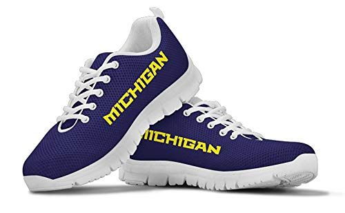 - Michigan Themed Casual Athletic Running Shoe Mens Womens Sizes Football University of Wolverines Apparel and Gifts for Men Women Fan NFL Woloverine Merchandise (Mens, Mens US5 (EU38))