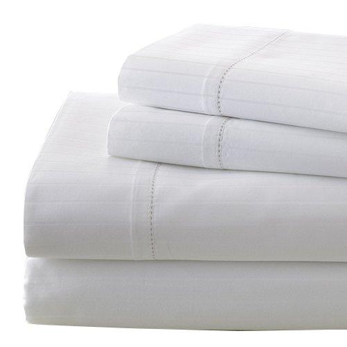 La Colección 700 hilos egipcio de rayas de damasco de algodón juego de sábana 4 piezas, queen, Color blanco: Amazon.es: Hogar