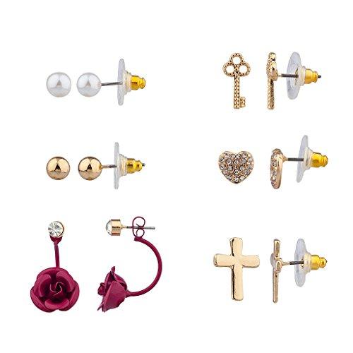 Pave Key (Lux Accessories Purple Rose Flower Floral Pave Key Unlock My Heart Cross Christ Multiple Stud Earring Set)