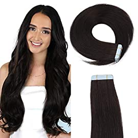16″ Human Hair Tape In Extensions Remy Tape In Hair Extensions Cuticle Straight Tape Hair Extensions 40g 20pcs (1# Jet Black) …