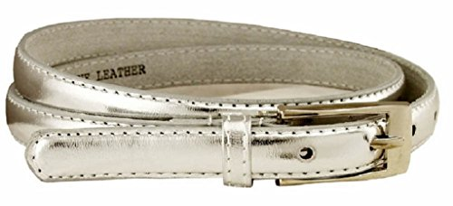 AimTrend Women's Belt Skinny Narrow Genuine Leather Fashion Dress Accessory-Silver-S