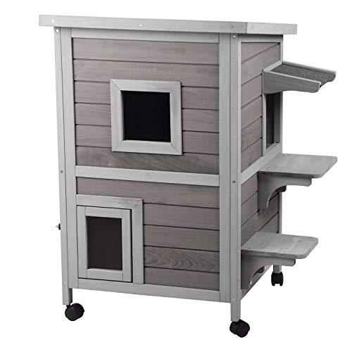 Aivituvin 2-Story Outdoor Weatherproof Cat House Indoor Wooden Kitty Condo with Escape Door - 4 Casters Included