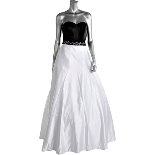 FAVIANA COUTURE Women's White Black Sateen Strapless Evening Gown Long Dress Formal Prom Pageant Bridal SZ 6 New