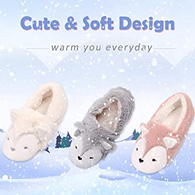 Womens Fox Fleece Animal Cozy House Slippers Indoor Outdoor   Slippers