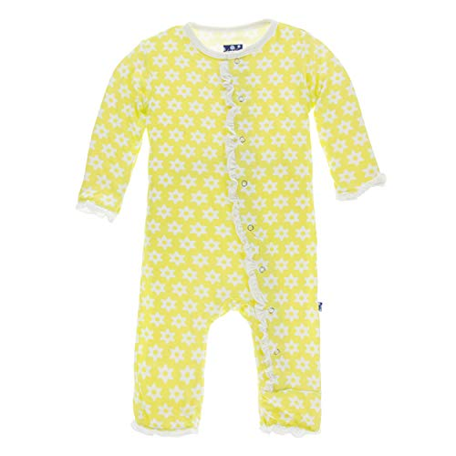 Kickee Pants Little Girls Print Layette Classic Ruffle Coverall with Snaps - Lime Blossom Stellini, 3-6 Months ()