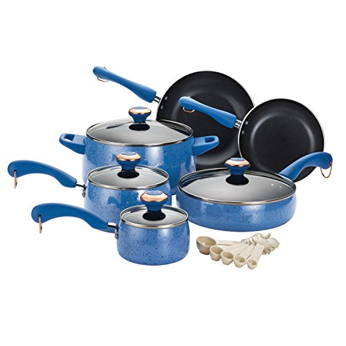 Speckled Coral (Paula Deen Signature Porcelain Nonstick 15-Piece Cookware Set, Blueberry Speckle)
