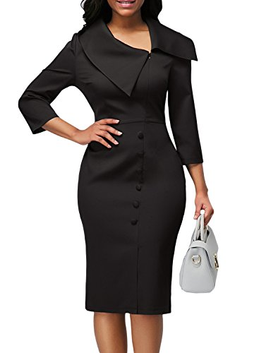 Happy Sailed Women Button Retro 3/4 Sleeve Wear to Work Business Dresses Slim Cocktail Pencil Dress X-Large ()