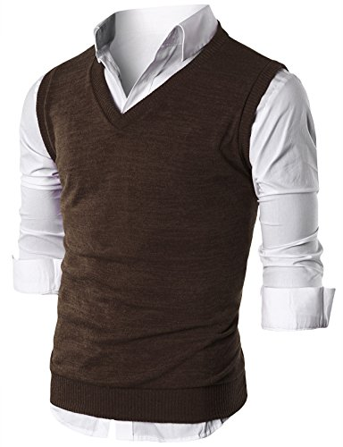 Big And Tall Ribbed Vest - Ohoo Mens Slim Fit Casual V-Neck Knit Vest/DCV010-BROWN-3XL