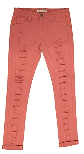 Teen G's Jeans and Twill For Girls Skinny Jeans For Girls With Ripped Denim and Distressed Stretch Fabric Slim Fit Pants,kp33 (12, (Girls Distressed Jeans)