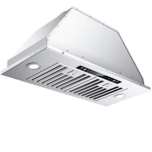 IKTCH 30 inch Bullet-in/Insert Range Hood 900 CFM, Stainless Steel Kitchen Vent Hood, with 2 Pcs Adjustable Lights and 2 Pcs Baffle Filters