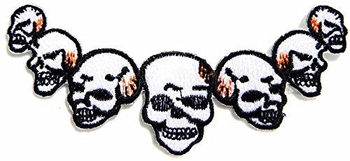Skull Chain Biker Patch Iron On Embroidered T Shirt Jacket Cap Halloween Costume