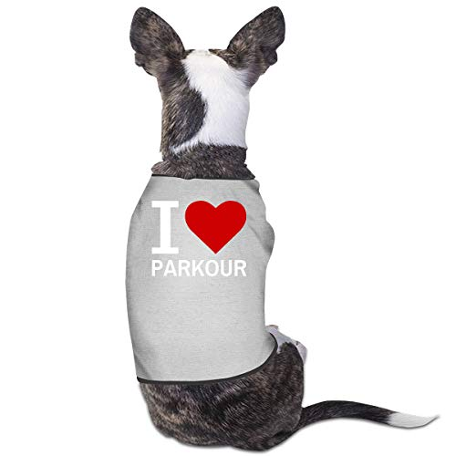 Nicokee Puppy Dogs Shirts Costume I Love Parkour Pets Clothing Warm Vest T-Shirt M
