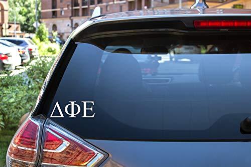 "Delta Phi Epsilon Sticker Greek Sorority Decal for Car, Laptop, Windows, Officially Licensed Product, Monogram Design 2.5"" Tall - White"