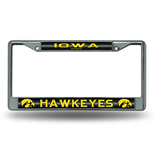 NCAA Iowa Hawkeyes Bling Chrome License Plate Frame with Glitter Accent