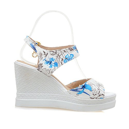 Toe Women's Color Wedges Assorted Blue Buckle Open High Material WeenFashion Soft Heels Sandals nzFYcYdq