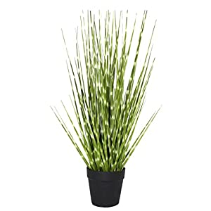 Hibuy Artificial Plant Green Grass PVC with Plastic/Metal/Metal Pot for Home Decor 7