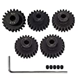 AMOGOT Metal Steel M1 Pinion Gear Sets 21T 22T 23T 24T 25T 5mm Shaft Motor Gears with Hex Key for 1/10 RC Brushless Brush Motor